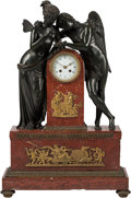 Decorative Arts, Continental, A Large Empire-Style Patinated, Gilt Bronze, and Marble FiguralMantle Clock with Cupid and Psyche Motif after a Design by Tho...