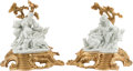 Decorative Arts, Continental, Two Continental Louis XV-Style Bisque Porcelain and Gilt BronzeFigural Groups. 16 h x 14 w x 11 d inches (40.6 x 35.6 x 27....(Total: 2 Items)