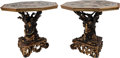 Furniture , A Pair of Grotto-Style Paint-Decorated and Partial Gilt Tables with Trompe l'oeil Zodiac Tops. 33 inches high x 37-1/2 inche... (Total: 2 Items)