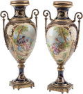 Decorative Arts, Continental:Other , A Pair of Sevres-Style Porcelain and Gilt Bronze Vases. 19-1/2 h x9 w x 6 d inches (49.5 x 22.9 x 15.2 cm). ... (Total: 2 Items)