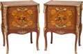 Furniture , A Pair of Louis XV-Style Marquetry and Gilt Bronze Petit Commodes. 32 h x 23 w x 18 d inches (81.3 x 58.4 x 45.7 cm). ... (Total: 2 Items)