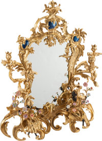 A Louis XV-Style Porcelain and Gilt Bronze Vanity Mirror 34-1/2 h x 27 w x 8 d inches (87.6 x 68.6 x 20.3 cm) <...