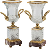 A Pair of Neoclassical Cut-Glass and Gilt Bronze Urns 18 h x 9-1/2 w x 7-1/2 d inches (45.7 x 24.1 x 19.1 cm) <...