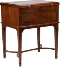 Furniture , An Edwardian Gentleman's Mahogany and Brass Inlaid Dressing Table, circa 1910. 34 h x 27 w x 21 d inches (86.4 x 68.6 x 53.3...