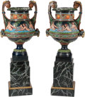 Decorative Arts, Continental, A Pair of Neoclassical Cold-Painted Bronze Urns. 32 h x 22 w x 17 dinches (81.3 x 55.9 x 43.2 cm). ... (Tota...