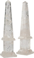 Decorative Arts, Continental, A Pair of Rock Crystal Obelisks. 14 h x 3 w x 3 d inches (35.6 x7.6 x 7.6 cm). ... (Total: 2 Items)