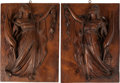 Decorative Arts, Continental, A Pair of Venetian-Style Carved Oak Panels with Classical Motif. 22h x 16 w x 1 d inches (55.9 x 40.6 x 2.5 cm). ... (Total: 2 Items)