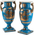 Decorative Arts, Continental, A Pair of Sevres-Style Porcelain Vases with Chinoiserie Motifs. 18h x 6 w x 10 d inches (45.7 x 15.2 x 25.4 cm)