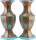 Decorative Arts, Continental, A Pair of Moorish Inlaid Octagonal Vases. 21 h x 9 w x 9 d inches(53.3 x 22.9 x 22.9 cm). ... (Total: 2 Item...