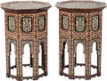 Furniture , A Pair of Moorish Mother-of-Pearl Inlaid Side Tables. 29 h x 20 w x 20 d inches (73.7 x 50.8 x 50.8 cm). ... (Total: 2 Items)