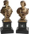 Decorative Arts, Continental, A Pair of Gilt Bronze Busts. 14-1/2 h x 6 w x 5 d inches (36.8 x15.2 x 12.7 cm). ... (Total: 2 Items)