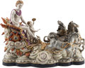 Decorative Arts, Continental, A Large Dresden-Style Porcelain Figural Group. 20 h x 27 w x 15 dinches (50.8 x 68.6 x 38.1 cm). ...