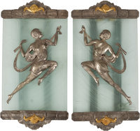 A Pair of Large Art Deco-Style Silvered, Gilt Bronze, and Etched Glass Sconces 26 h x 16 w x 2 d inches (66.0 x 40