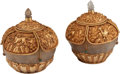 Decorative Arts, Continental, A Pair of Mughal-Style Carved Rock Crystal and Gilt Metal CoveredBowls. 5-1/2 h x 5 w x 5 d inches (14.0 x 12.7 x 12.7 cm)...(Total: 4 Items)