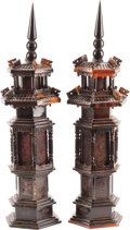 Asian:Chinese, A Pair of Chinese Carved Pagodas. 20-1/2 h x 7 w x 7 d inches (52.1x 17.8 x 17.8 cm). ... (Total: 2 Items)