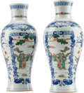 Asian:Chinese, A Pair of Chinese Blue and White Porcelain Vases with Famille VertePanels. 12 h x 5-1/2 w x 5-1/2 d inches (30.5 x 14.0 x 1... (Total:2 Items)