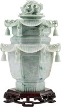 Asian:Chinese, A Chinese Carved Jade Pagoda-Form Hexagonal Censer on HardwoodStand. 8-1/2 h x 6 w x 4-1/2 d inches (21.6 x 15.2 x 11.4 cm)...(Total: 3 Items)