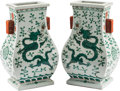 Asian:Chinese, A Pair of Chinese Famille Verte Enameled Porcelain Vases with Dragon Motif. 13-1/2 h x 8 w x 6 d inches (34.3 x 20.3 x 15.2 ... (Total: 2 Items)