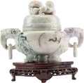 Asian:Chinese, A Chinese Carved Lavender Jade Censer on Hardwood Stand. 6 h x11-1/2 w x 4 d inches (15.2 x 29.2 x 10.2 cm) (censer, exclud...