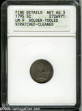 Early Half Dimes: , 1795 H10C--Solder, Tooled, Scratched, Cleaned--ANACS. Fine Details,Net AG3. V-6, LM-9, R.4. A scarce variety noted for its...