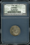 Early Dimes: , 1798/97 10C 16 Stars on Reverse Fine Details, Obverse Repaired,NCS. JR-1, R.3. The grainy obverse shows tooling on the upp...