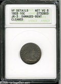 Early Dimes: , 1803 10C--Damaged, Bent, Cleaned--ANACS. VF Details, Net VG8. JR-3,R.4. The digit 3 in the date leans left, the top being ...