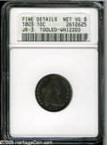 Early Dimes: , 1803 10C--Tooled, Whizzed--ANACS. Fine Details, Net VG8. JR-3, R.4.Navy-blue fields accompany dove-gray devices. Tooling i...
