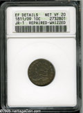 Bust Dimes: , 1811/09 10C--Repaired, Whizzed--ANACS. XF Details, Net VF20. JR-1,R.3. No repair is readily evident, but the surfaces are ...