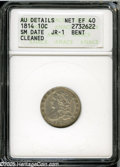 Bust Dimes: , 1814 10C Large Date--Bent, Cleaned--ANACS. AU Details, Net XF40.JR-2, R.3. The ANACS attribution is erroneous in calling t...