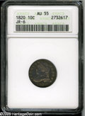 Bust Dimes: , 1820 10C Large 0 AU55 ANACS. JR-6, R.3. All thirteen stars have a pronounced notch on their outer point, apparently due to ...