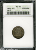 Bust Dimes: , 1821 10C Large Date AU50 ANACS. JR-6, R.2. Honey, aqua, and plumcolors grace this partly lustrous beauty. Crisply struck, ...