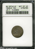 Bust Dimes: , 1823/2 10C Small Es--Cleaned--ANACS. AU Details, Net XF45. JR-1, R.3. Fine hairlines are visible on the obverse, which is l...