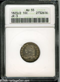 Bust Dimes: , 1823/2 10C Large Es AU55 ANACS. JR-3, R.2. The underdigit is quitepronounced on this overdate, with remnants of the 2 seen...