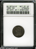 Bust Dimes: , 1828 10C Small Date--Scratched--ANACS. AU Details, Net XF40. JR-1,R.2. Dusky mahogany and dove-gray colors blanket this ri...