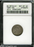 Bust Dimes: , 1829 10C Small 10C--Scratched--ANACS. AU Details, Net XF40. JR-4,R.2. Silver-gray centers and olive-brown borders reveal t...