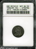 Bust Dimes: , 1830/29 10C--Tooled, Cleaned--ANACS. Unc Details, Net AU50. JR-5, R.2. A hairlined and retoned example with sea-green borde...