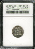 Bust Dimes: , 1832 10C--Cleaned--ANACS. AU Details, Net XF40. JR-7, R.3. Brightsilvery surfaces display wispy hairlines, especially on t...