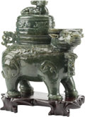 Asian:Chinese, A Chinese Carved Spinach Jade Figural Ox Censer on Hardwood Stand.9 h x 8 w x 4 d inches (22.9 x 20.3 x 10.2 cm). ... (Total: 3Items)