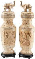 Asian:Chinese, A Pair of Chinese Carved Vases with Wooly Mammoth Motif on Hardwood Stands. 26 h x 8 w x 5 d inches (66.0 x 20.3 x 12.7 cm) ... (Total: 6 Items)