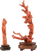 Asian:Chinese, Two Chinese Carved Coral Figural Sculptures Depicting Guanyin andBirds. 7 h x 3-1/2 w x 1 d inches (17.8 x 8.9 x 2.5 cm) (l...(Total: 3 Items)