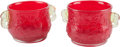 Asian:Chinese, A Pair of Chinese Carved Red and Clear Peking Glass Cache Pots. 5 h x 8 w x 5-1/2 d inches (12.7 x 20.3 x 14.0 cm). ... (Total: 2 Items)
