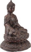 Asian:Chinese, A Chinese or Thai Bronze Seated Buddha. 19 h x 13 w x 9 d inches(48.3 x 33.0 x 22.9 cm). ...
