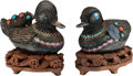 Asian:Chinese, A Pair of Chinese Enameled and Hardstone-Mounted Duck-Form Boxes onHardwood Stands. 4 h x 6-1/2 w x 3 d inches (10.2 x 16.5... (Total:4 Items)