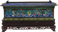 Asian:Chinese, A Chinese Enameled Pagoda-Form Box on Hardwood Stand. 3-1/2 h x 11w x 2 d inches (8.9 x 27.9 x 5.1 cm) (excluding base). ... (Total:2 Items)