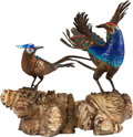 Asian:Chinese, A Chinese Enameled Bird Group on Hardwood Stand. 6-1/2 h x 9 w x 10d inches (16.5 x 22.9 x 25.4 cm). ...