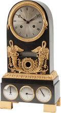 Clocks & Mechanical:Clocks, An Empire-Style Patinated and Gilt Bronze Calendar Mantle Clock. 15 h x 8 w x 4 d inches (38.1 x 20.3 x 10.2 cm). ... (Total: 2 Items)