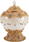 Asian, A Mughal-Style Carved Rock Crystal, Gilt Metal, andHardstone-Mounted Bowl. 16 h x 10 w x 10 d inches (40.6 x 25.4 x25.4 cm... (Total: 2 Items)