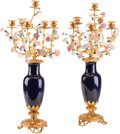 Asian, A Pair of Chinese Porcelain and Gilt Bronze Six-Light Candelabra.30 h x 12 w x 12 d inches (76.2 x 30.5 x 30.5 cm). ...