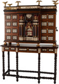 Furniture , A Spanish-Style Vargueno Desk on Stand. 55 h x 35 w x 18 d inches (139.7 x 88.9 x 45.7 cm). ... (Total: 2 Items)