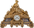 A Louis XV-Style Gilt Bronze and Porcelain Figural Mantle Clock 17-1/2 h x 21 w x 5-1/2 d inches (44.5 x 53.3 x 14